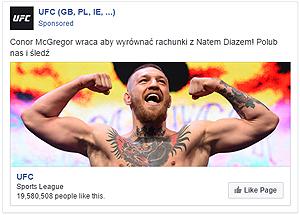 Captura de la página principal de Facebook, de la empresa de artes marciales UFC