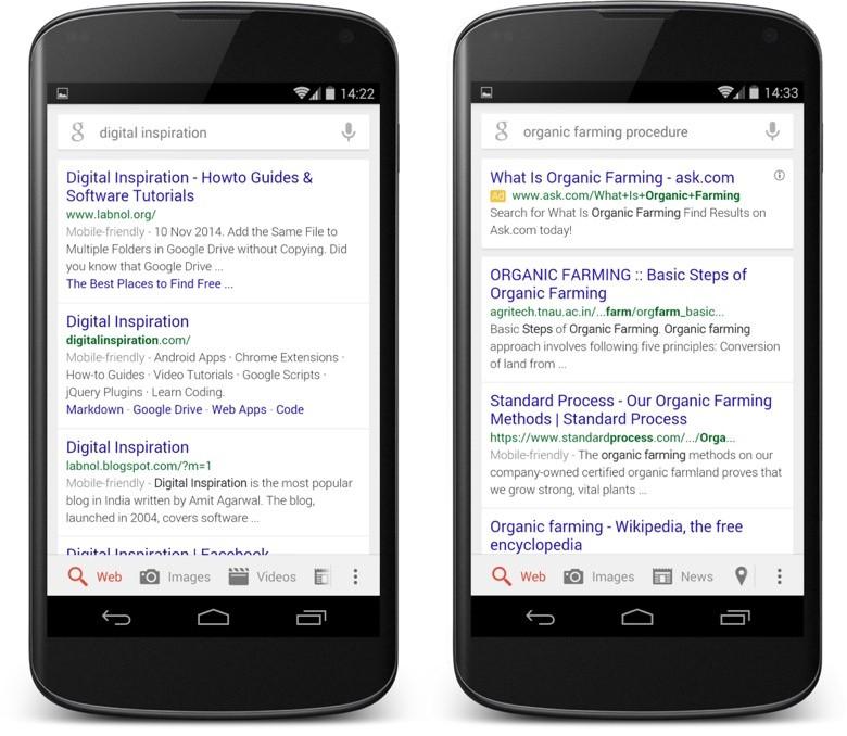 Dós móviles que muestran páginas de resultados del buscador Google