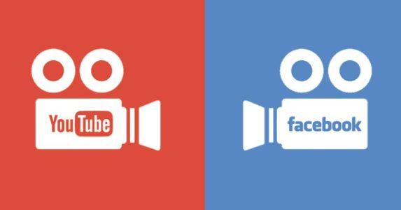 Dos cámaras de vídeo que llevan escrito YouTube y Facebook